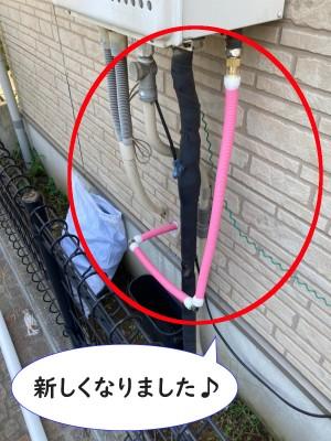 【画像】外の給湯管を繋ぎ直したところです。