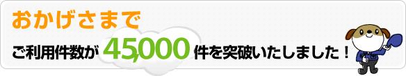おかげさまでご利用件数が45000件を突破いたしました。